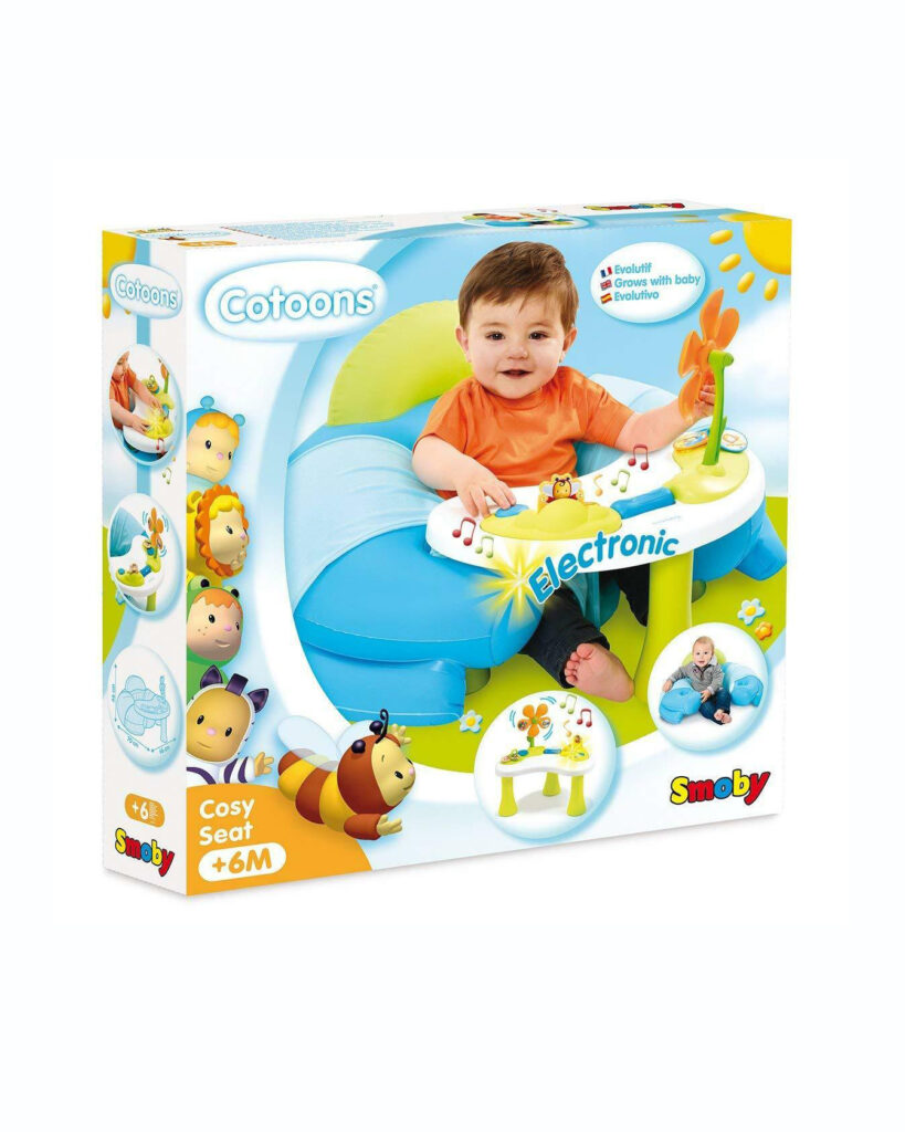 Smoby 110210 Cotoons Baby Seat With Activity Table Blue Color